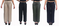 Womens Ladies Wide Leg Linen Trousers Khaki Green Navy Flax & Black Size 8 - 16