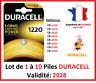 Piles CR-1220  DURACELL / Autre modèle: CR-1616-1620-2016-2025-2032-2430-2450