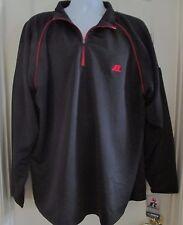 NWT Men's RUSSEL Dri-Power Zip Pullover Shirt Black w/ Red treim size XXL