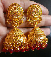 22K Gold Plated South Indian Red Crystal Wedding Jhumka Bright Earrings Jhumki