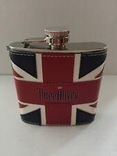 Three Olives Vodka Union Jack flask. Very nice!!! New Stainless Steel