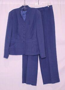 CHADWICKS BLUE LINED LONG SLEEVE BUTTON FRONT BLAZER & PANT SUIT SZ 14 #M835