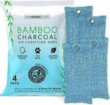 Bamboo Charcoal Air Purifying Bag 4 Pack Naturally Freshen Rooms, Shoes, Fridge