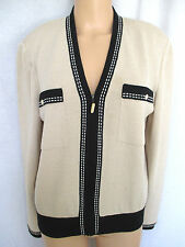 St. John Collection Women's Sweater Jacket Medium Beige & Black With Zip Front