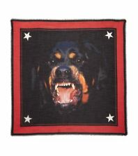 GIVENCHY Black & Red Rottweiler Graphic Print Silk-Blend  Scarf 140cm X 140cm
