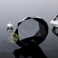 Black Crystal Paperweight Cut Glass Large Giant Diamond Jewel Wedding Gift 30mm