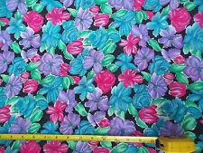 Vintage Neman Bros. Floral Chiffon 44-45 Pink Purple Turquoise Blue Green Black