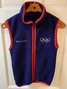 Champion 1994 Lillehammer Official US Olympic Team Fleece Vest Blue XXS USA Made