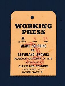 Miami Dolphins vs Cleveland Browns 1973 Working Press Pass Larry Csonka 2 TD's