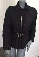Karen Millen Size 10 Black Viscose Blend Belted Padded Jacket
