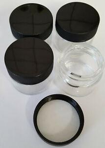 10 Stück Glastiegel 15 ml mit schwarzem Kunststoffdeckel Salbentiegel
