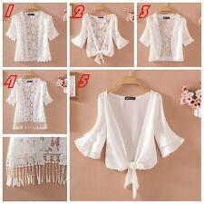 Women Short Sleeve Lace Shrug Bolero Cape Capelet Jacket White Open Cardigan New