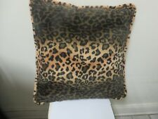 "Exotic Large Faux Fur Leopard Throw Pillows Square 18"" x 18"" Pre Owned"