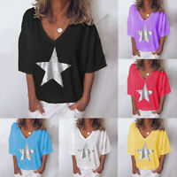 Women Loose T Shirt Summer Short Sleeve Female V Neck Star Print Basic Top