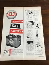 1951 VINTAGE 5.5X14 PRINT COLOR Ad DELCO-REMY CAR BATTERIES NATION'S #1 BATTERY