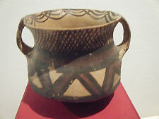 Antique Neolithic Painted Pottery Jar With Two Handles - Antiquity Certificate