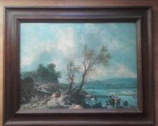 tableau vintage reproduction tres belle huile paysage Hollandais