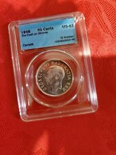 Error 1948 Canada 50 Cents Coin CCCS Graded MS-63 Die Clash on Obverse