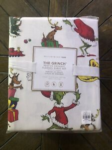 Pottery Barn Teen THE GRINCH AND MAX Christmas ORGANIC Flannel Twin XL Sheet Set