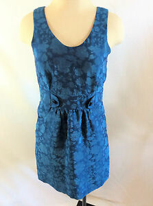 Royal Blue Floral Sleeveless Cocktail Dress w/Pockets Women's Size Small