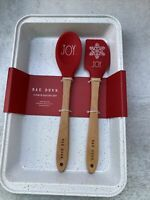 Rae Dunn Holiday Christmas JOY 3 Piece Baking Set White Metal Pan Spatula Spoon