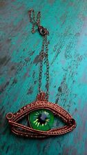 HIPPY BOHO STEAM PUNK DRAGON EYE WIRE WEAVE PENDANT BRONZE COPPER 25md