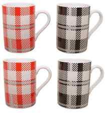 Set of 4 Black & Red Tartan Chequered Coffee Mugs Fine Porcelain Mugs Set of 4