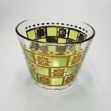 "Vintage Glass Snack Bowl 5.75"" Gold Green"