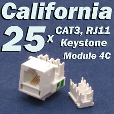 25 X Pcs CAT3 Keystone Jack RJ11 6P4C Phone Telephone RJ12 Modular White CAT 3