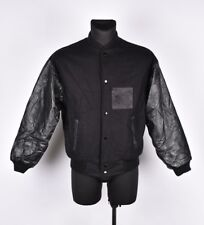 Adrian Hopkins Promotions Men Wool Leather Sleeves Bomber Jacket Coat Size L,