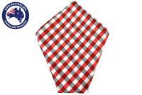 Mens Pocket Square White Black Red Checkered Gingham Handkerchief Hanky Hankie