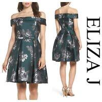 ELIZA J off the Shoulder Belted Fit & Flare Dress 10P $178