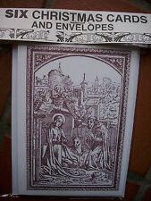 PACK OF SIX RELIGOUS CHRISTMAS  CARDS & ENVELOPES -BOOK OF HOURS MEDIEVAL SCENE
