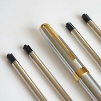 4x PARKER Type G2 Ballpoint Pen Refills BLACK + BAOER Stainless Steel Pen UK!