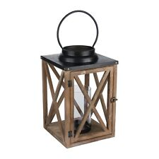 Large Wooden Cross Style Lantern With Stud Detail - Place on a Mantel Piece
