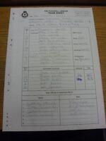 11/03/2000 The Football League Team Sheet: Torquay United v Rotherham United (Ca