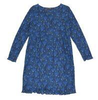 Womens Gudrun Sjoden 100% Linen Floral Dress Summer Long Sleeve Blue Size M