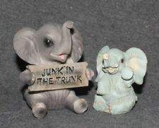 Elephant Pair Statuette Africa Zoo Animal Safari Decorative Ornaments (set of 2)