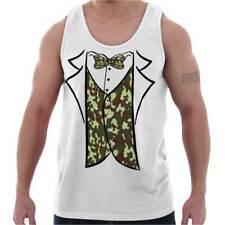 Redneck Camo Printed Tuxedo Bachelor Party Tank Tops T-Shirts Tshirt For Mens