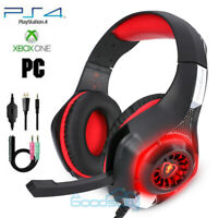 Pro Gaming Headset With Mic XBOX One Wireless PS4 Headphones Microphone Beat Red
