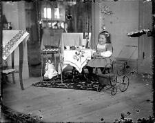 Photo. 1910s. Cute Girl Having Tea Party With Her Doll