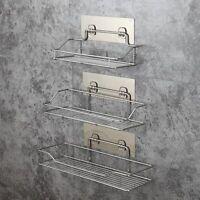 Stainless Steel Bathroom Rack Wall Suction Soap Holder Toothbrush Razor Shampoo