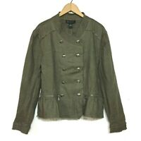 INC International Concepts Green Linen Military Peplum Jacket Womens Size XL