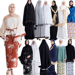 Muslim Women Abaya Set Kaftan Top + Skirt Dubai Prayer Islamic Clothes