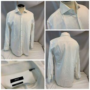 Hugo Boss Shirt 15.5 32 White 100% Cotton Point Collar Malaysia YGI I1-119