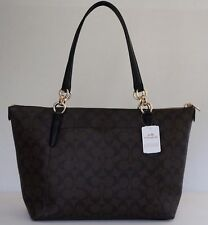 Coach AVA Leather Shopper Tote (Signature Brown/Black/Gold) 94037