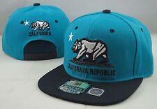 NEW CALIFORNIA REPUBLIC 3D EMBROIDERED FLAT BILL SNAPBACK CAP HAT AQUA/BLACK