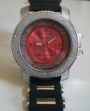 Black Silicone/ Silver Finish Geneva Hip Hop Bling Rapper Style Fashion Watch