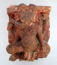 1800's Antique Old Hand Carved Wooden Hindu Religious God Ganesha Panel Plaque