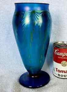 Large Rick Strini Studio Art Glass Peacock Iridescent Vase